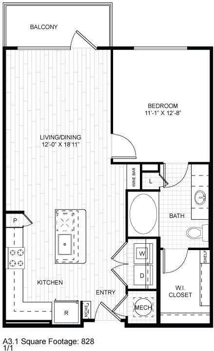 828 sq. ft. A3.1 floor plan