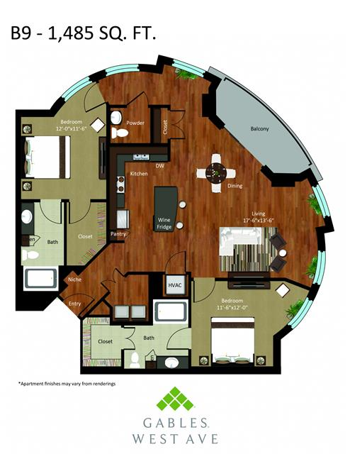 1,485 sq. ft. DB9 floor plan