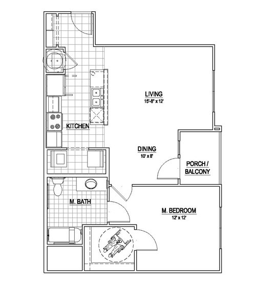 811 sq. ft. A2/HC floor plan