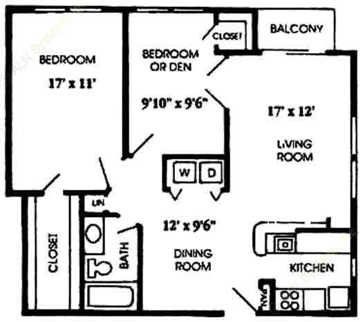 882 sq. ft. B2 floor plan