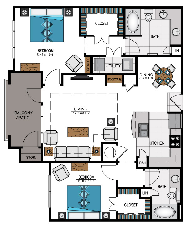 1,200 sq. ft. B2 floor plan
