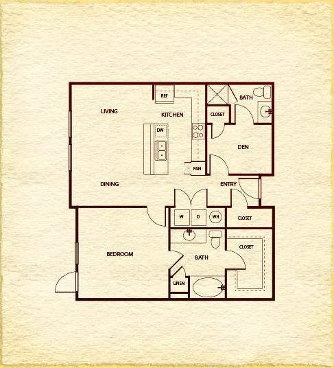 978 sq. ft. to 1,005 sq. ft. A540 floor plan