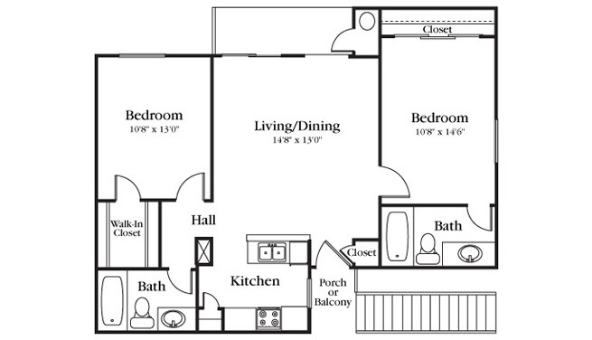875 sq. ft. B1-210 floor plan