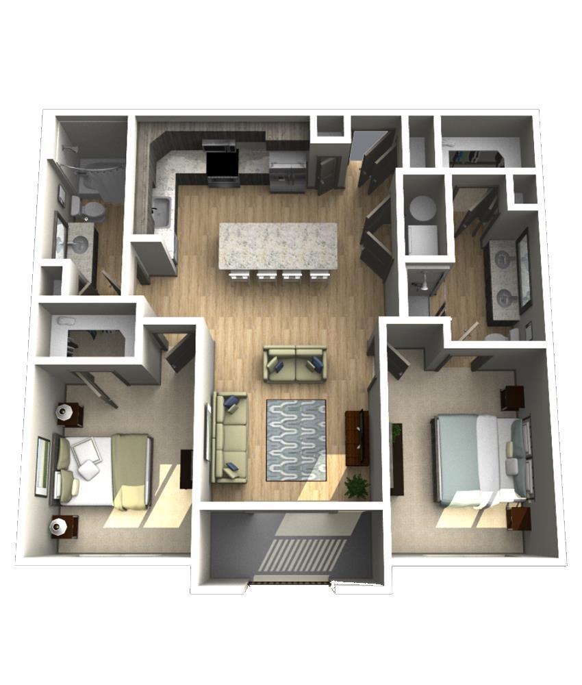 1,081 sq. ft. B1 floor plan