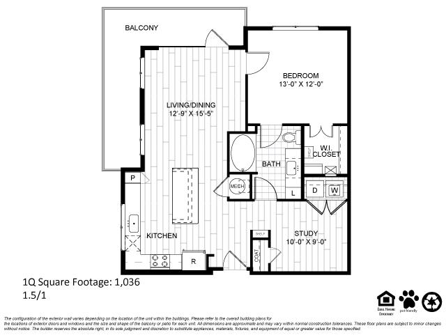 1,036 sq. ft. 1Q floor plan
