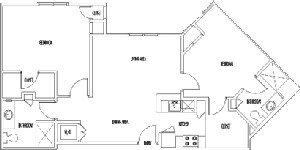 1,185 sq. ft. CAMBRIDGE floor plan
