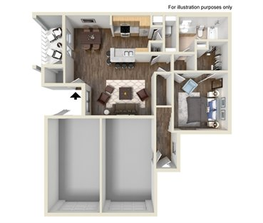 827 sq. ft. A2 floor plan