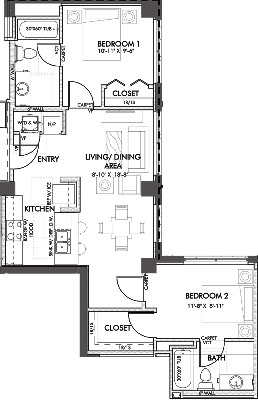 850 sq. ft. Jennings.2 60% floor plan