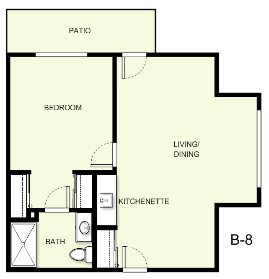 665 sq. ft. B8 floor plan