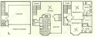 1,464 sq. ft. T1 floor plan