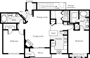 1,045 sq. ft. Palmer floor plan