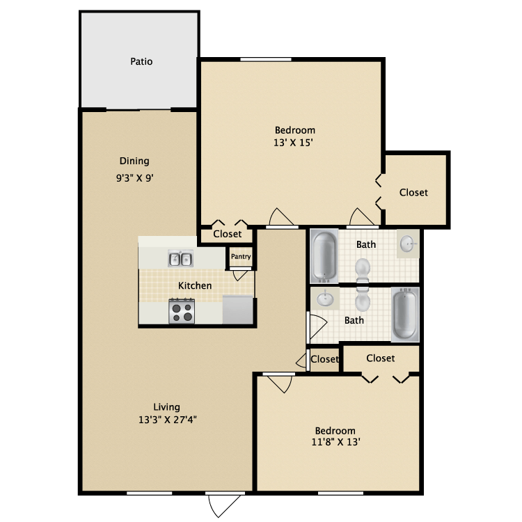 1,100 sq. ft. La Costa floor plan
