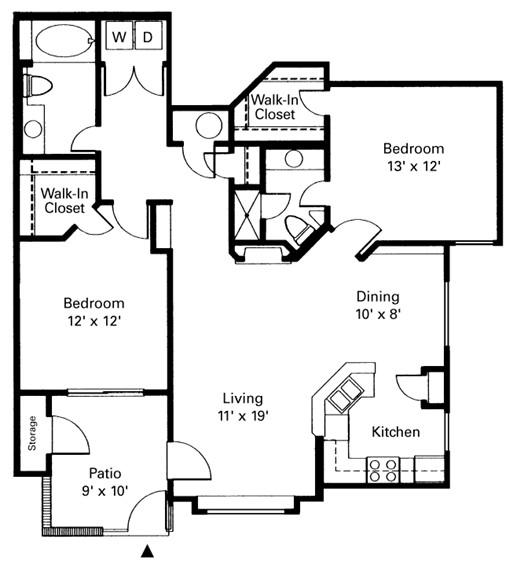 1,074 sq. ft. Doral floor plan