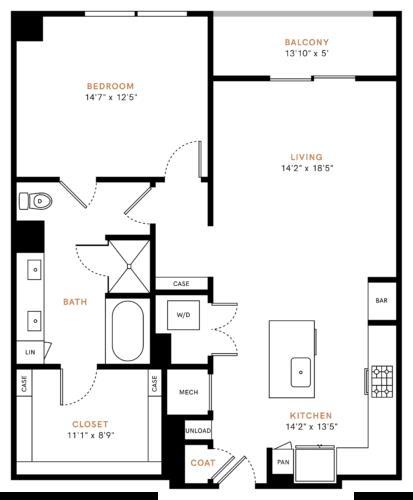 1,036 sq. ft. A6 floor plan