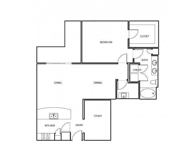 1,043 sq. ft. A10 floor plan