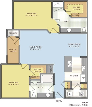 1,118 sq. ft. Maple floor plan