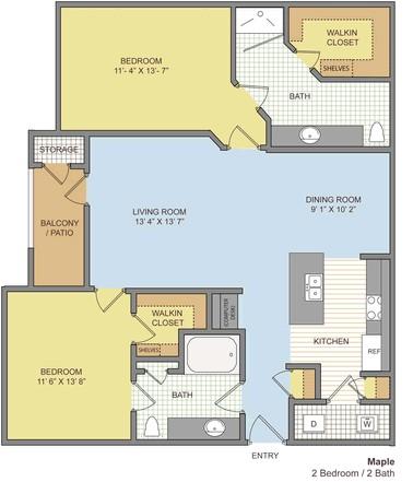 1,118 sq. ft. Maple floor plan