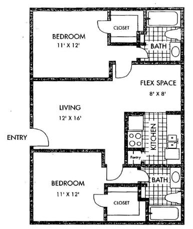 914 sq. ft. floor plan
