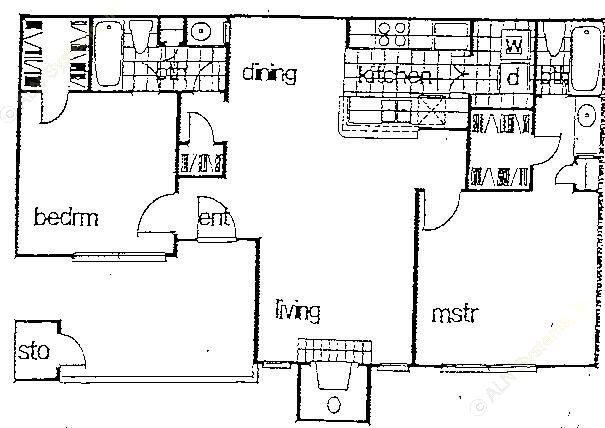 971 sq. ft. B1 floor plan