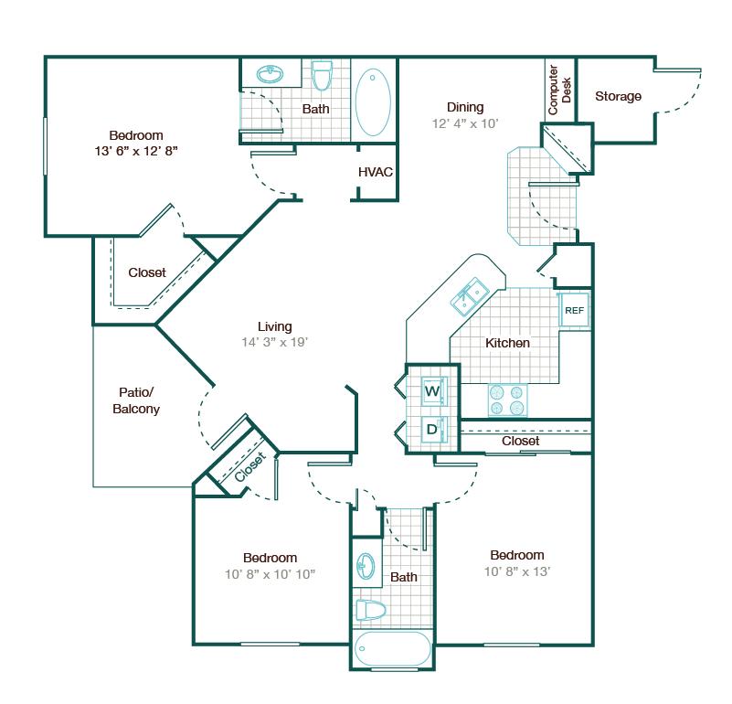 1,273 sq. ft. C1 floor plan