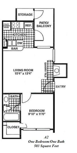 503 sq. ft. A2 floor plan