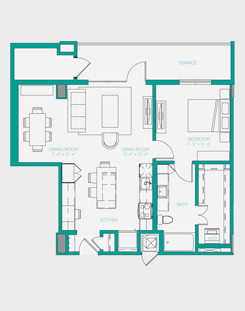821 sq. ft. A3 floor plan