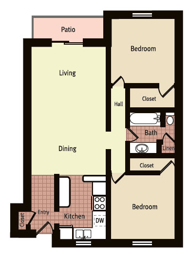 924 sq. ft. J floor plan