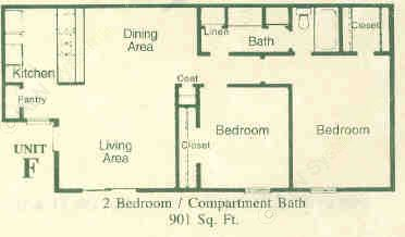 901 sq. ft. F floor plan