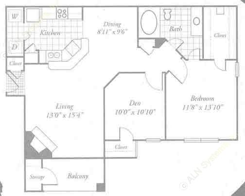 912 sq. ft. A4 floor plan