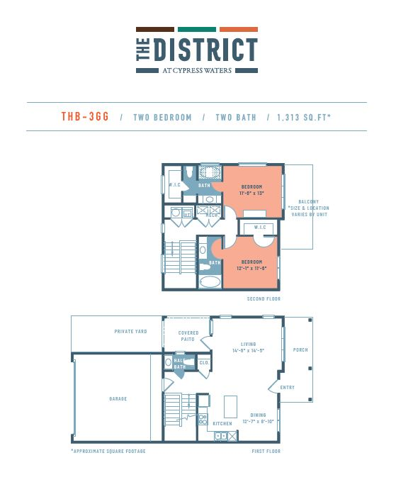 1,313 sq. ft. THB3GG floor plan