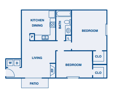 860 sq. ft. B floor plan