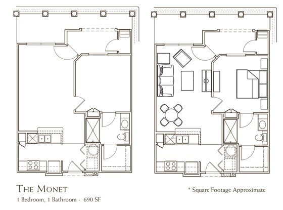 690 sq. ft. MONET floor plan