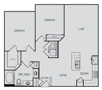 1,017 sq. ft. B1S floor plan
