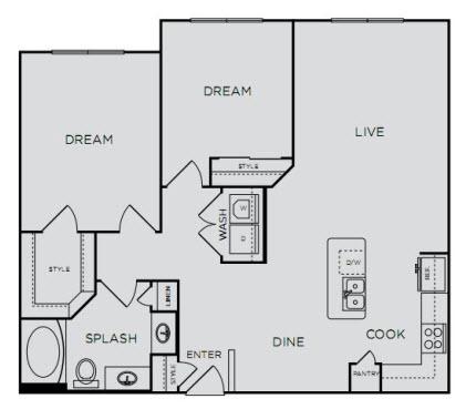 1,017 sq. ft. B1S floor plan