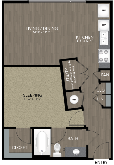 646 sq. ft. Intown Housing floor plan