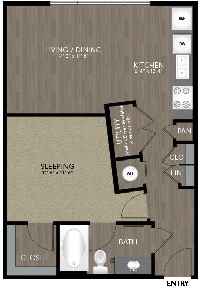 646 sq. ft. Intown Housing floor plan