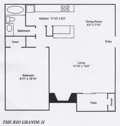 605 sq. ft. A2 floor plan