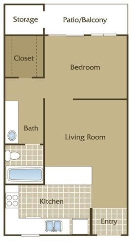 523 sq. ft. B floor plan