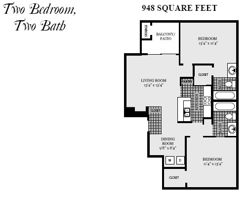 948 sq. ft. B4 floor plan