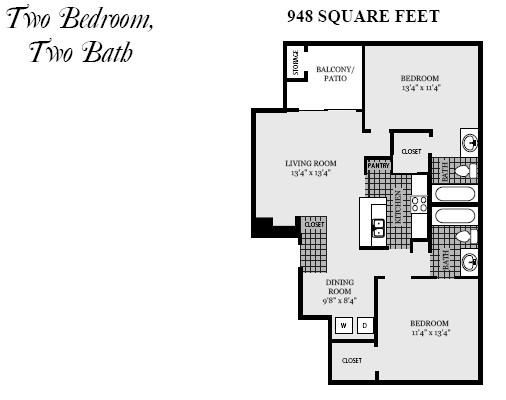 948 sq. ft. B4 floor plan