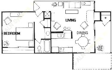 689 sq. ft. Corbel floor plan