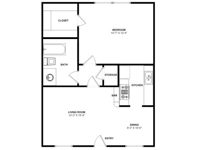 625 sq. ft. A4 floor plan