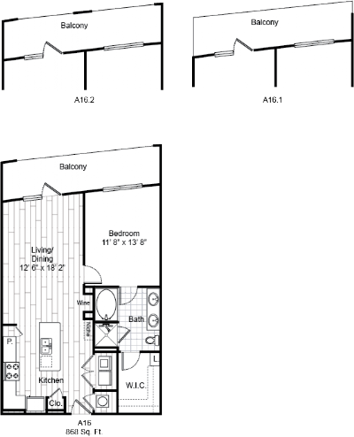 868 sq. ft. A16 floor plan
