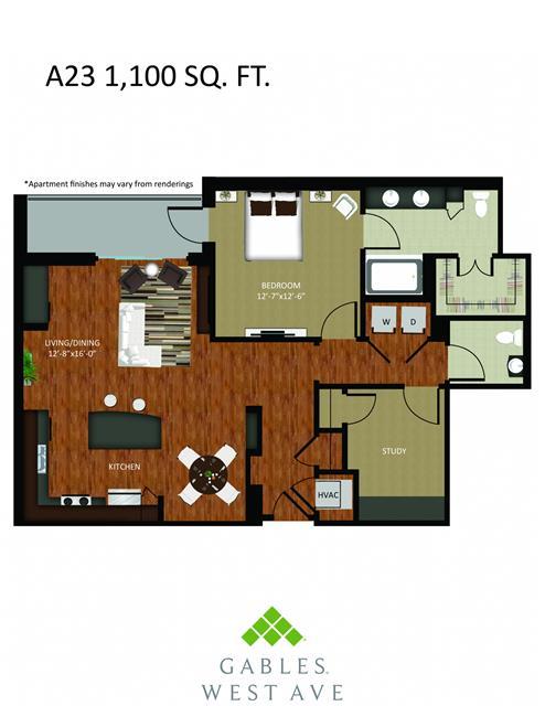 1,100 sq. ft. DA23 floor plan