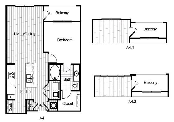 764 sq. ft. A3A floor plan