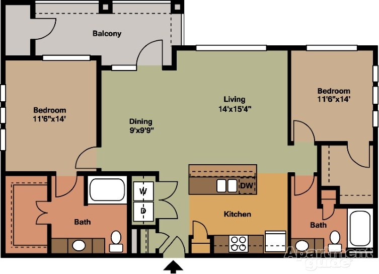 1,209 sq. ft. B5 floor plan