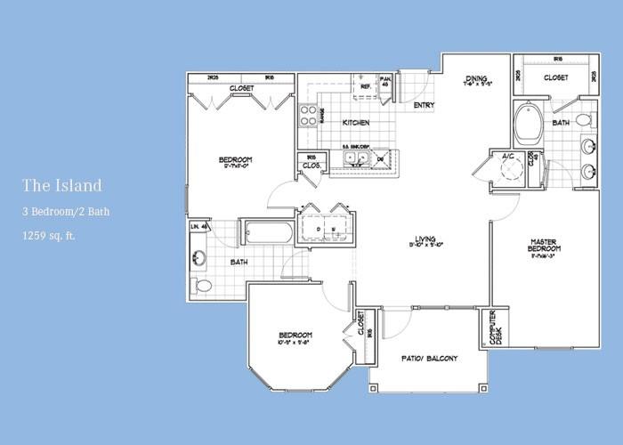 1,259 sq. ft. Island floor plan
