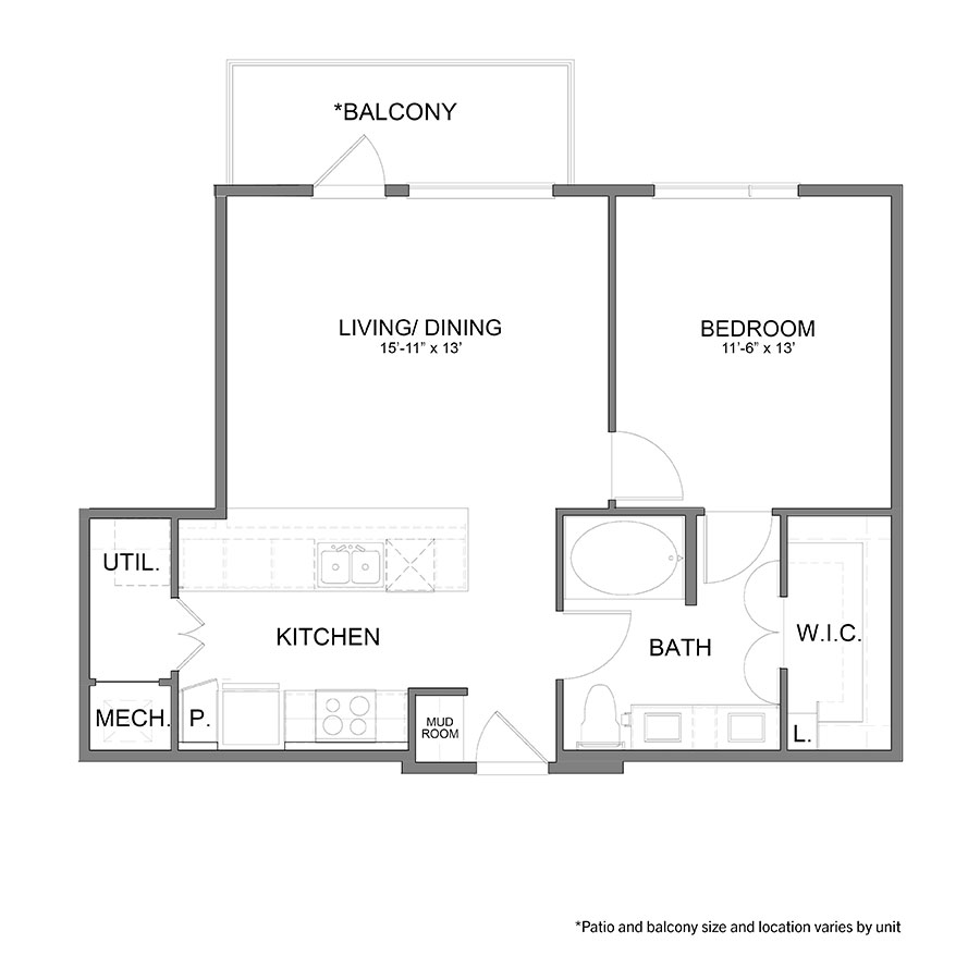 752 sq. ft. A6 floor plan