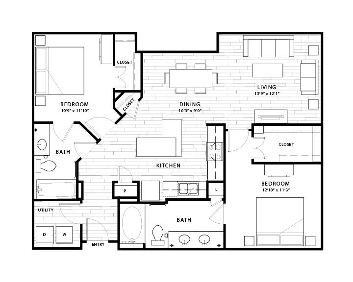 1,376 sq. ft. B2b floor plan