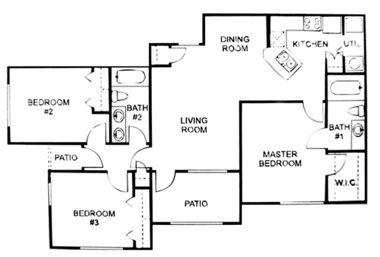 1,110 sq. ft. D/60 floor plan